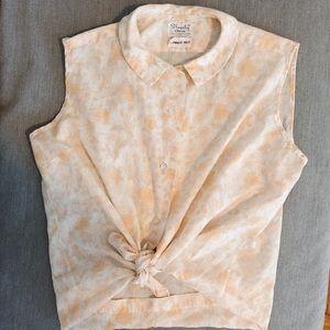 Vintage Shapely Classic peach white blouse M TK